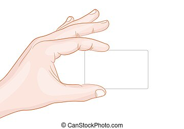 hand holding a card blank