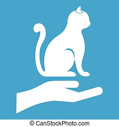 Hand holding a cat icon white