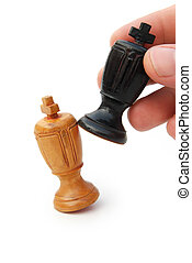 hand holding a chess with clipping path
