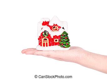 Hand holding a christmas house