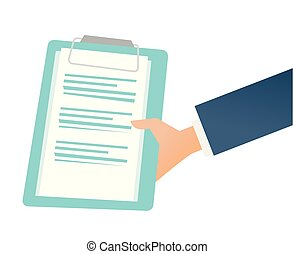 Hand holding a clipboard with business documents.