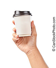 Hand holding a coffee cup isolated on white.