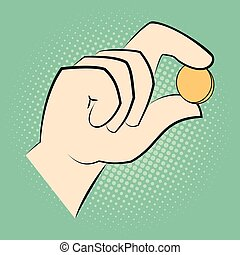 Hand holding a coin between two fingers