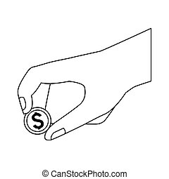 hand holding a coin icon, flat design