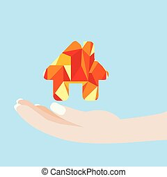 hand holding a colorful house. Real estate concept. Vector Illustration.