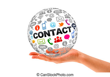 Contact Us - Hand holding a Contact Us 3d Sphere.