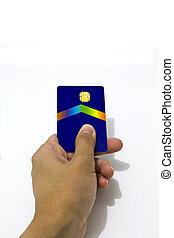 Hand holding a credit card on white background