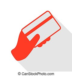 Hand holding a credit card. Red icon with flat style shadow path.