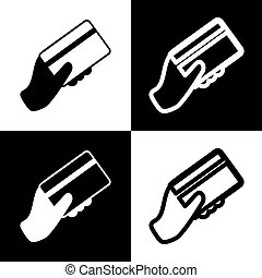Hand holding a credit card. Vector. Black and white icons and line icon on chess board.