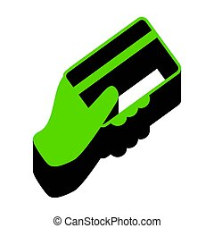 Hand holding a credit card. Vector. Green 3d icon with black side