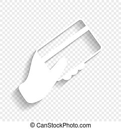 Hand holding a credit card. Vector. White icon with soft shadow on transparent background.