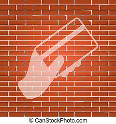 Hand holding a credit card. Vector. Whitish icon on brick wall as background.
