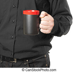hand holding a cup of coffee on white