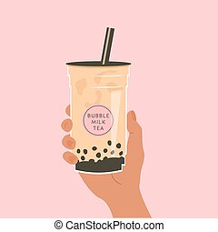 Hand holding a cup of famous Taiwanese bubble tea on pink ...