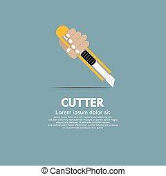 Hand Holding A Cutter Knife.