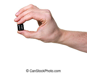 hand holding a dice isolated on white background