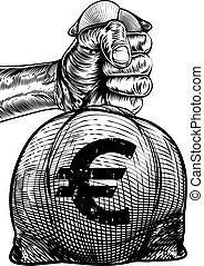Hand Holding a Euro Sign Burlap Sack Money Bag