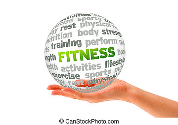 Hand holding a Fitness Word Sphere on white background.
