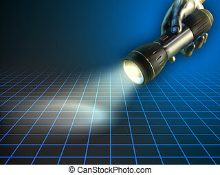 Hand holding a flashlight - Metallic hand holding a turned...