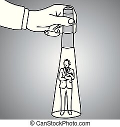 hand holding a flashlight pointing at standing businessman vector illustration doodle sketch hand drawn with black lines isolated on gray background. Business concept. In the Spotlight.