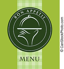 hand holding a food tray, menu template; vector illustration