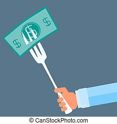 hand holding a fork with money