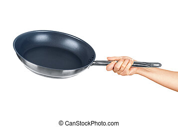 hand holding a frying pan on an isolated white background