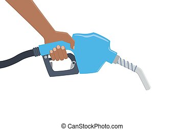 Hand holding a fuel pump. Yellow drop of oil - Hand holding...