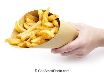 hand holding a funnel paper with fries