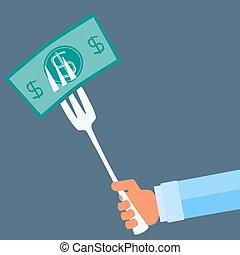 hand holding, a, gabel, mit, geld