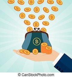 hand holding, a, geldbeutel, mit, bitcoins