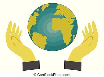 Hand holding a globe on white background,