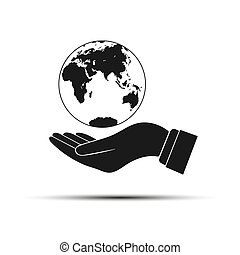 Hand holding a globe, simple design