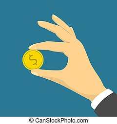 Hand holding a golden coin with dollar sign
