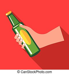 Hand holding a green beer bottle icon, flat style