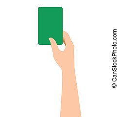 Hand Holding A Green Card Isolated On White Background