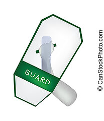 Hand Holding A Green Riot Shield on White Background