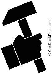 Hand holding a hammer vector illustration