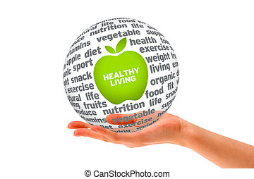 Hand holding a Healthy Lifestyle Sphere on white background.