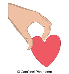hand holding a heart design icon