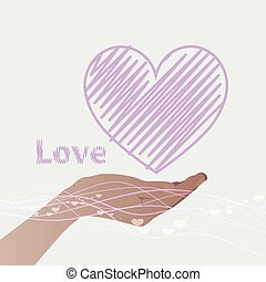 hand holding a heart with line and the word love