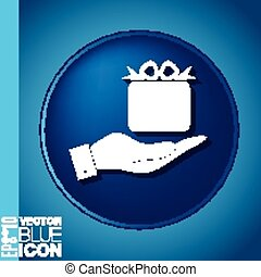 hand holding a Holiday Gift Box Icon. Vector illustration EPS 8.