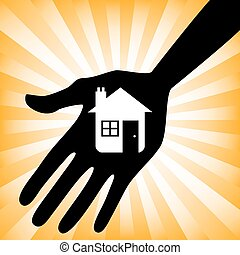 Hand holding a house icon design.