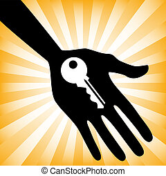 Hand holding a house key design with a sunburst background.