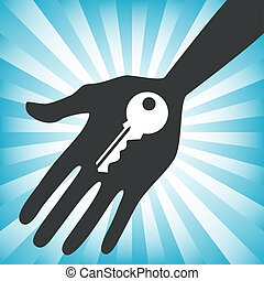 Hand holding a house key design. - Hand outstretched holding...
