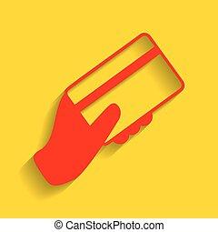 hand holding, a, kredit, card., vector., rotes , ikone, mit, weich, schatten, auf, goldenes, hintergrund.