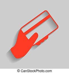 hand holding, a, kredit, card., vector., rotes , ikone, mit, weich, schatten, auf, graue , hintergrund.