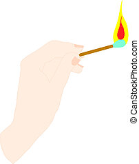 hand holding a lighted match