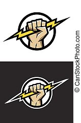 Hand holding a lighting Bolt. Symbol logo.