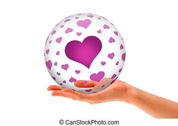 Hand holding a Love 3D Sphere
